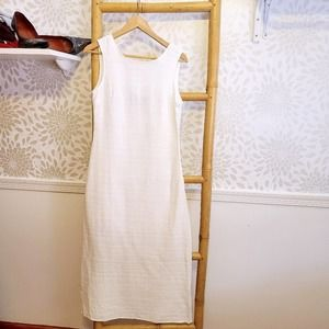 Callahan Knits White Linen Blend Shift Dress